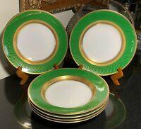 "6 Rosenthal Aida Principessa Emerald Green w/Gold 10"" Rim Soup Bowls 3032"