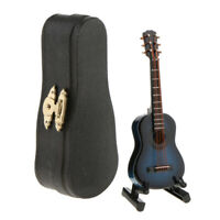 1/12 Scale Dollhouse Miniature Instrument Wood Guitar Toy with Box