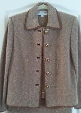 St. John Couture by Marie Gray 2 Pc Suit Brown Tweed Boucle Size 6