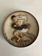 No Swimming 1981 Norman Rockwell Porcelain Mini Plate