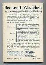 Edward DAHLBERG / Because I Was Flesh Advance Reading Copy 1st 1963