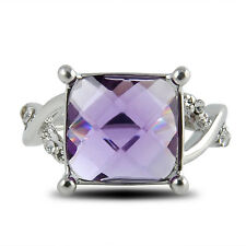 Heart Pink White Topaz Gemstone Silver Plated Fashion Women Ring Size 6/7/8/9