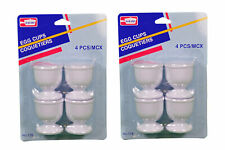 Lot of 8 White Plastic Egg Cups Cook Hard Soft Boiled