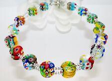 Halskette Kette Murano Millefiori Lampwork bunt multicolor mehrfarbig   202j