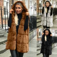 Ladies Faux Fur Gilet Vest Sleeveless Waistcoat Hooded Long Jacket Coats Outwear