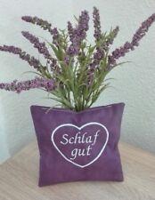 """Lavendelkissen, Lavendelsäckchen, bestickt,  """"Schlaf gut"""", 14x14 cm, Handarbeit"""