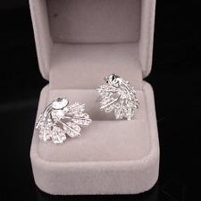 1Pair Vintage Women Silver Plated Crystal Rotate Leaf Ear Stud Earrings Jewelry