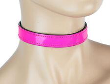 Hot Pink Neon Sexy Plain Choker Buckle on Back Club wear Rockabilly