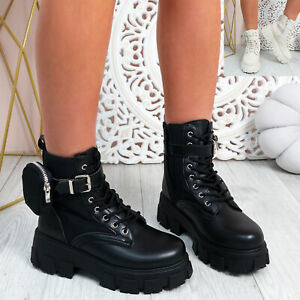 WOMENS LADIES ANKLE BOOTS CHUNKY PLATFORM LACE UP ZIP BUCKLE WOMEN SHOES