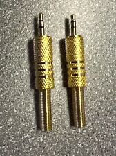 2.5MM JACK PLUG, STEREO, GOLD, PACK OF 2