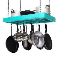 Hanging Pot Rack - Wooden - Ceiling Mounted - Rectangular - Large - Steel Grid