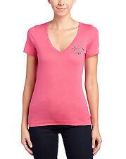 $78 True Religion Slim Embellished Logo Pink V Neck T-Shirt Size M