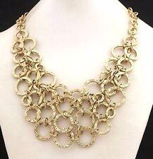 Lia Sophia LISA Bib Hammered Gold Tone Necklace KIAM Family Signature Collection