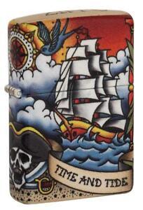 Zippo Windproof Pirate Ship & Lighthouse, Nautical Tattoo, 49532, New In Box