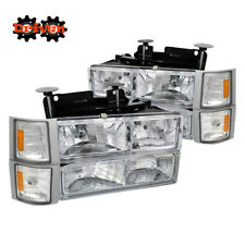 C10 Chevy Suburban Tahoe Silverado Headlights+ Turn Signal+ Corners Chrome Amber