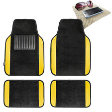 4pcs Set Universal Fit Car Carpet Floor Mats Black Yellow w/ Beige Dash Mat