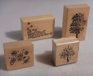 Lot of 4 Rubber Stamps : Tree, Flock of birds, Daisies, Boquet of Flowers