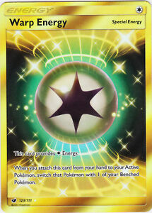 WARP ENERGY 123/111 SECRET RARE Gold Pokemon TCG : S&M Crimson Invasion - NEW