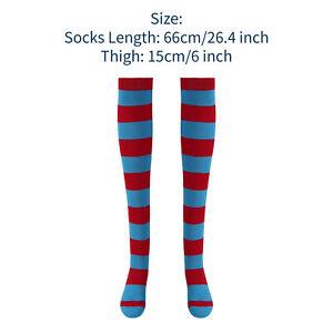 Striped Over-the-knee Leg Socks w/Headband Wig Cap Set Cosplay Costume Accessory