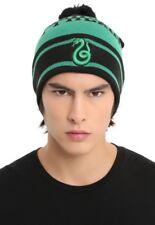 Harry Potter Slytherin Embroidered Snake Striped Pom Beanie Hat Ski Cap NWT!
