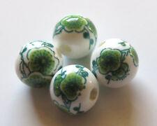 30pcs 10mm Round Porcelain/Ceramic Beads - White / Green Cherry Blossoms