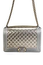 Chanel женская большая стеганая металлическая кожа мальчик клапан сумка сумочка золотой тон