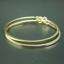 18k yellow Gold GF large hoop dangle solid earrings