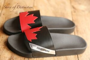 DSquared 2 Leather Canadian Team Sandals Slides Sliders Flip Flops UK 8