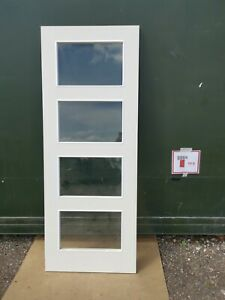 DGM1860 Howdens 4 Panel Shaker Smooth Glazed 2'6 Int. Moulded Door