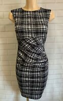 Black White Check Ruch Front Wiggle Pencil Smart Office Shift Dress Size 8-18