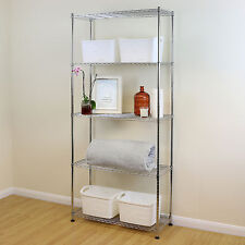 5 Tier Chrome Metal Storage Rack/Shelving Wire Shelf Kitchen/Office Unit 200cm