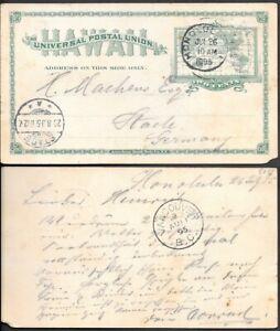 Hawaii 2c Postal Stationery Card mailed to Germany 1895
