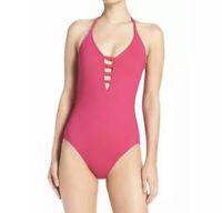 La Blanca Plunge Halter Multi-strap Back One Piece Swimsuit 14