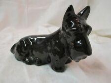 Vintage 1980 ceramic Scottie Dog Figurine black signed Kay
