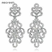 Mecresh Women Crystal Floral Bridal Earrings Silver/Gold Fashion Earrings EH177