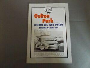 1989 OULTON PARK PROGRAMME 3/6/89 - UNIRYAL 1 HOUR RACEDAY - FORD SIERRA COVER