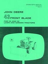 John Deere 43 Front Blade 110 112  Operators Manual JD