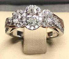 Vera Wang 14KT White/Rose Gold 3 Stone Oval Halo Diamond Engagement Ring