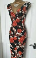 🎀 Phase Eight Orange Rose Floral Party Summer Wedding Evening Occasion Dress 18