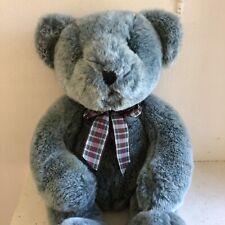 "Russ Berries Blue Gray Boy Brambles Bear With Tartan Bow tie 15"" Euc"