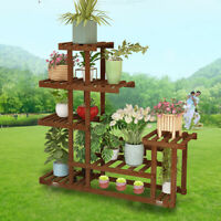 5 Tier Cypress Wooden Shelf Flower Pot Plant Stand Display Indoor Outdoor Garden