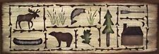 Cabin Sampler Lodge Bear Moose Fish Rustic Primitive Country Sign Home Decor