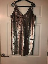 Silver Grey Sequin Dress Size 10 Zip Up Occasion Smart Celeb Party Sexy Plunge F