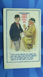 Saucy Reg Maurice Comic Postcard 1915 Theatre Royal Poster WHAT GIRLS WILL DO