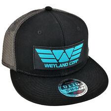 ALIEN Movie PROMETHEUS Weyland Corp Cyan Patch Flat Bill Black Grey Mesh Cap Hat