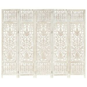vidaXL Solid Mango Wood Hand carved Room Divider Screen White/Brown 120/200cm