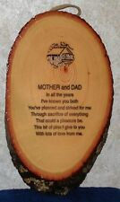 "10""x6"" MOTHER AND DAD WOOD PLAQUE FINISHED WOOD HANGING WALL PLAQUE Made in USA"
