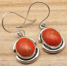 Turquoise New Model Earrings Handmade 925 Silver Plated Exclusive Orange Copper