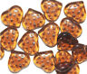 Dark Topaz Top Drilled Heart Czech Pressed Glass Beads 15mm (pack of 16)