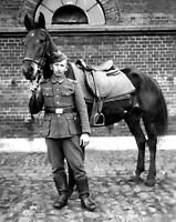 B&W WW2 Photo WWII German Soldier with Horse World War Two Wehrmacht Germany
